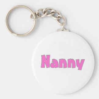 Nanny Pink Basic Round Button Key Ring