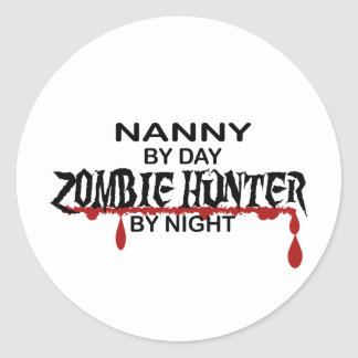 Nanny Zombie Hunter Round Sticker