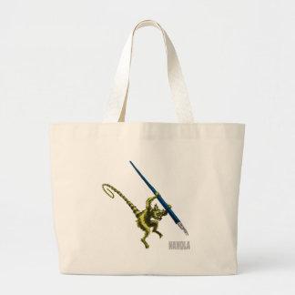 NaNoLA - Lemur with fountain pen Large Tote Bag