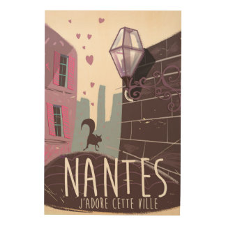 Nantes France city travel poster Wood Canvases