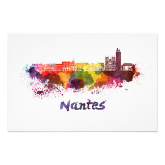 Nantes skyline in watercolor photo art