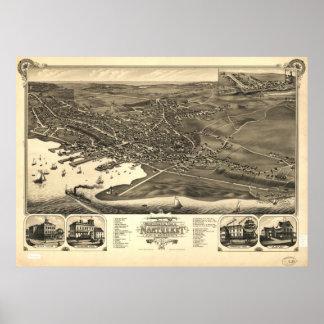 Nantucket Beach Mass. 1881 Antique Panoramic Map Poster