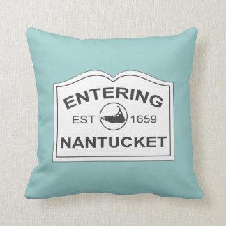 Nantucket Island, Est 1659 with Map in Aqua Teal Cushion