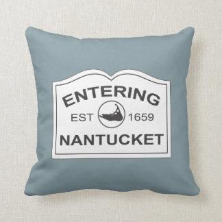 Nantucket Island, Est 1659 with Map in Denim Blue Cushion