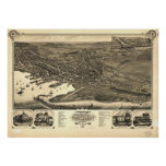 Nantucket Massachusetts 1881 Antique Panoramic Map Poster