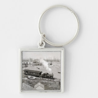 Nantucket Railroad Silver-Colored Square Key Ring