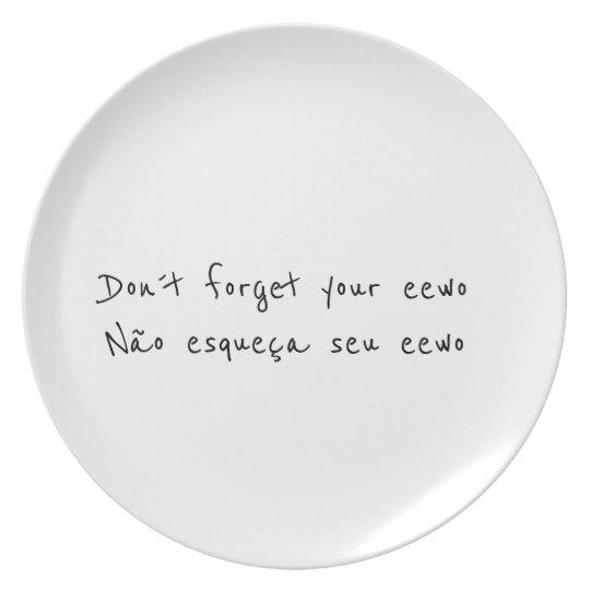 Não se esqueça do seu tabu - eewo plate