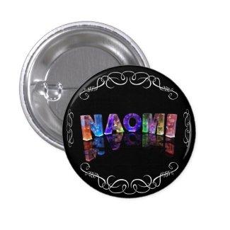 Naomi - The Name Naomi in 3D Lights (Photograph) Buttons