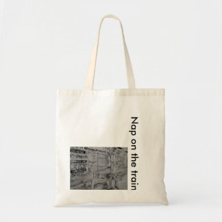 Nap on the train budget tote bag
