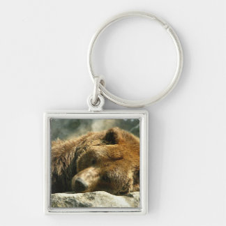 Nap Time Bear Silver-Colored Square Key Ring