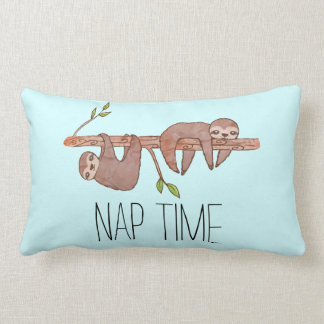 Nap Time Sleepy Lazy Sloth Drawing Pillow