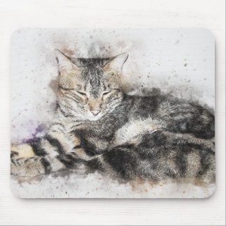 Nap Time Tabby | Abstract | Watercolor Mouse Mat