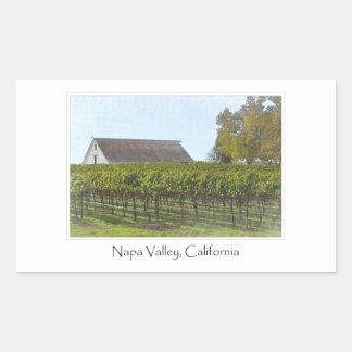 Napa Valley California Vineyard and Barn Rectangular Sticker
