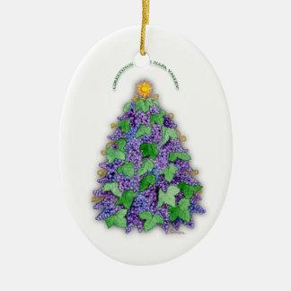 Napa Valley Grapes Christmas Tree Ceramic Oval Decoration