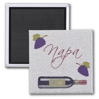Napa Vintage Wine Bottle Square Magnet