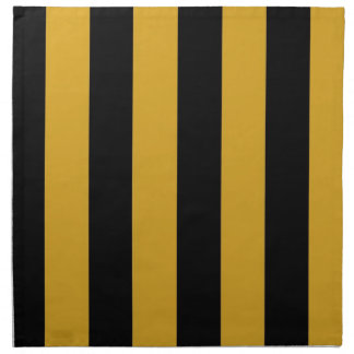 Napkin - Black and Goldrenrod - broad stripes