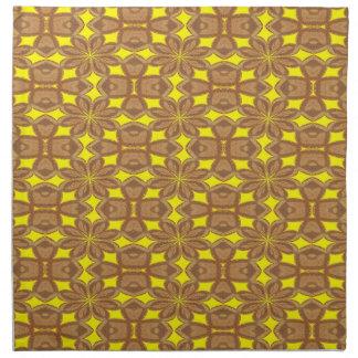 Napkin - Brown and Yellow Decorative Design