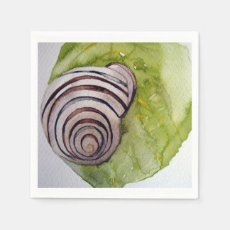 Napkin paper leaf and snail in watercolor disposable serviette
