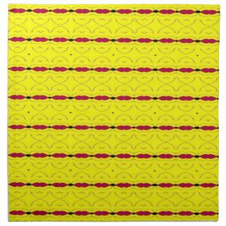 Napkin - Red Beads / Yellow Background