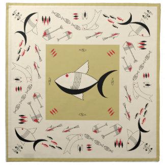 Napkin Set FABULOUS 50s FISH Retro Vintage +Colors
