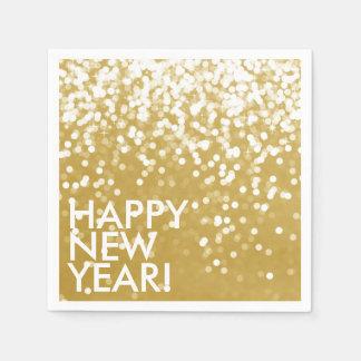 Napkin - Sparkling Happy New Year Gold Disposable Serviette