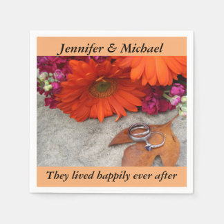 Napkin Wedding Reception Personalize Fall Floral Paper Napkin