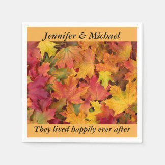 Napkin Wedding Reception Personalize Fall Leaves Paper Napkin
