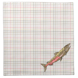 Napkins - Cloth - Chinook Salmon on Plaid