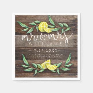NAPKINS | Rustic Wood Lemon Watercolor Wedding Disposable Napkins