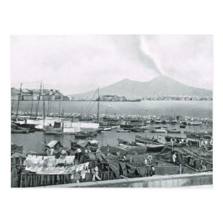 Naples, 1908, Harbour with houseboats and Vesuvius Postcard