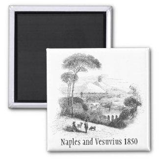 Naples and Vesuvius Volcano 1850 Magnet