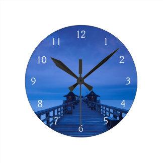 Naples Pier, dawn Round Clock