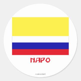 Napo flag with Name Round Sticker