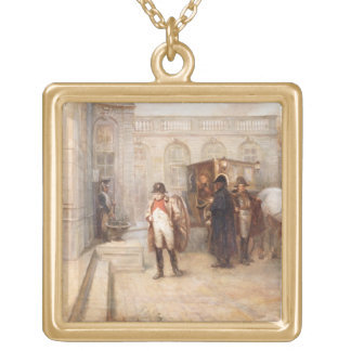 Napoleon after Waterloo (oil on canvas) Gold Plated Necklace