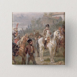 Napoleon and his Troops (oil on panel) (pair of 12 15 Cm Square Badge