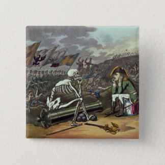 Napoleon and skeleton, 18th 15 cm square badge