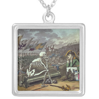 Napoleon and skeleton, 18th silver plated necklace