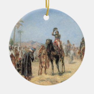 Napoleon Arriving at an Egyptian Oasis (oil on can Round Ceramic Decoration