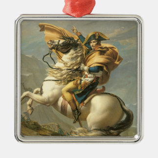 Napoleon  Crossing the Alps at the St Bernard Silver-Colored Square Decoration