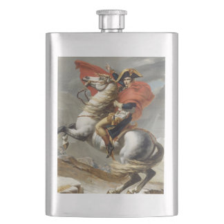Napoleon Crossing the Alps by Jacques Louis David Hip Flask
