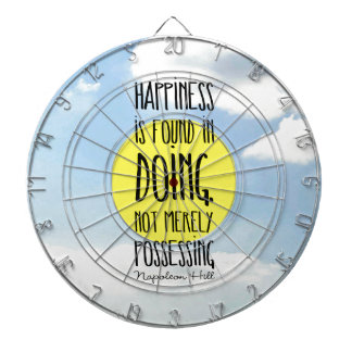 "Napoleon Hill quote, ""Happiness is found in doing"" Dartboard"