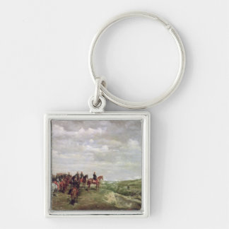 Napoleon III (1808-73) at the Battle of Solferino Silver-Colored Square Key Ring