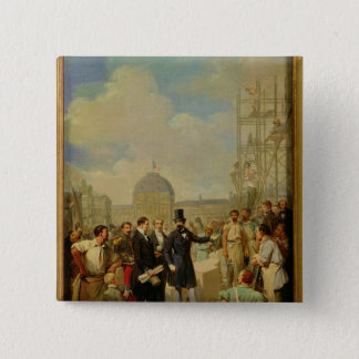 Napoleon III Visiting the Works at the Louvre 15 Cm Square Badge