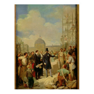 Napoleon III Visiting the Works at the Louvre Postcard