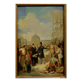 Napoleon III Visiting the Works at the Louvre Poster
