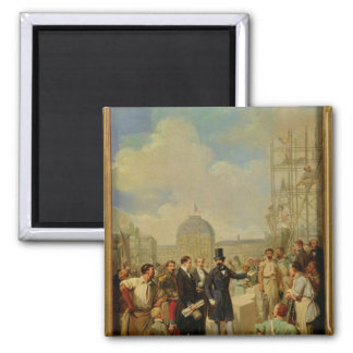 Napoleon III Visiting the Works at the Louvre Square Magnet