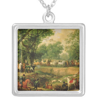 Napoleon on a hunt in the Compiegne Forest, 1811 Silver Plated Necklace