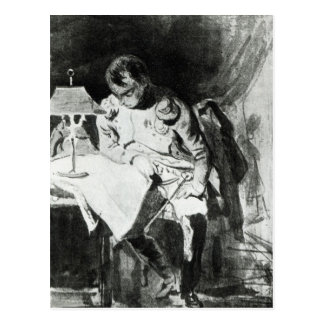 Napoleon studying his maps by lamplight, c.1800 postcard