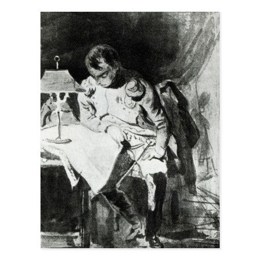 Napoleon studying his maps by lamplight, c.1800 post cards