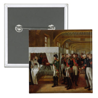 Napoleon visiting the Infirmary of Invalides 15 Cm Square Badge